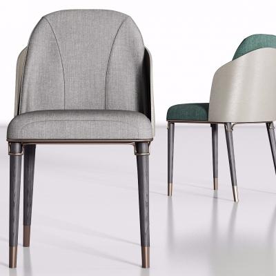 现代灰色布艺单椅组合3D模型
