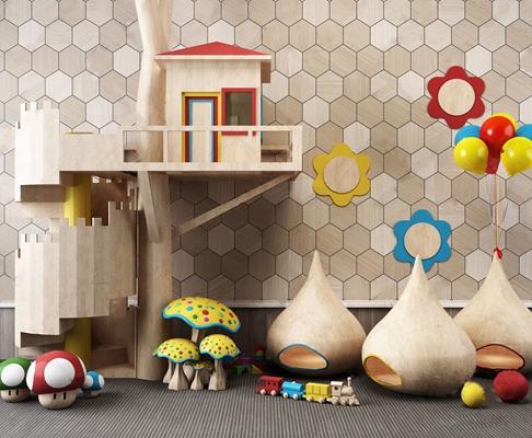 儿童游乐园房子玩具组合 现代玩具 儿童游乐园房子 气球 蘑菇 火车玩具