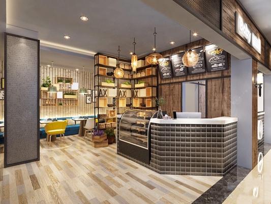 北欧甜品店 北欧商业零售 收银台 室外桌椅 就餐区 多人书房 茶几 吊灯 墙饰 门头 铁艺装饰架