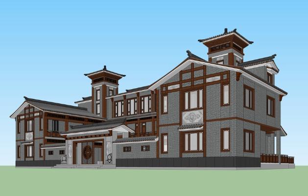 中式博物馆SU模型
