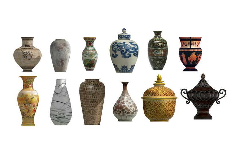 陶器陶罐组合摆设SU模型