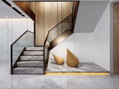 现代楼梯间 现代楼梯 雕塑