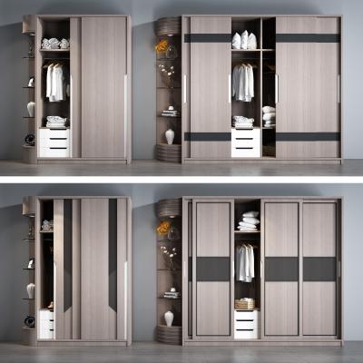 现代实木衣柜摆件组合3D模型