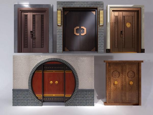 中式大门子母门双开门3d模型