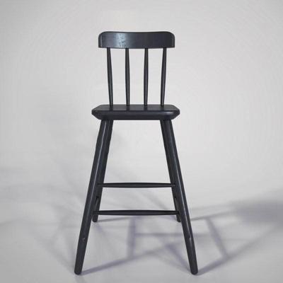北欧实木儿童椅欧式风格 原木椅 做旧复古 栅栏式靠背 休闲椅 工业风 吧椅 单人椅