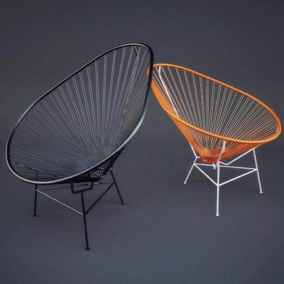 北欧工业风铁艺休闲椅复古 休闲椅 北欧简约 铁艺椅 不锈钢 铁网