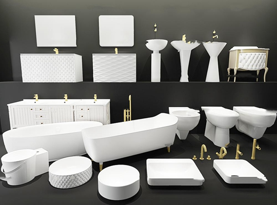 现代浴缸马桶洗手盆卫浴柜组合3D模型