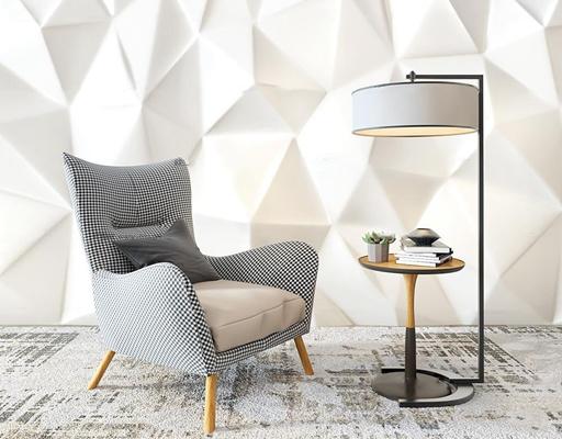 现代布艺休闲椅圆几落地灯组合3D模型