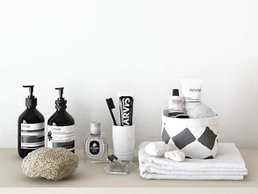 现代毛巾牙膏洗漱用品组合3D模型