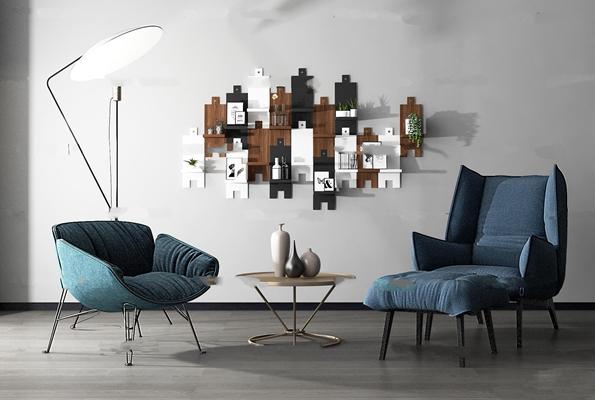 现代休闲椅脚踏茶几落地灯墙饰组合3D模型