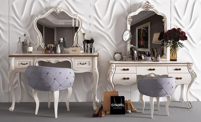 欧式梳妆台 欧式梳妆台 欧式椅子 欧式梳妆镜 化妆品 花瓶