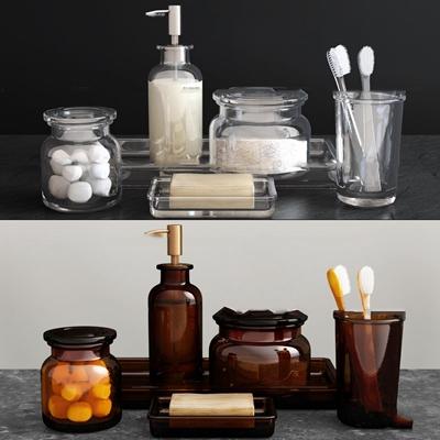 现代牙刷香皂洗漱用品组合3D模型