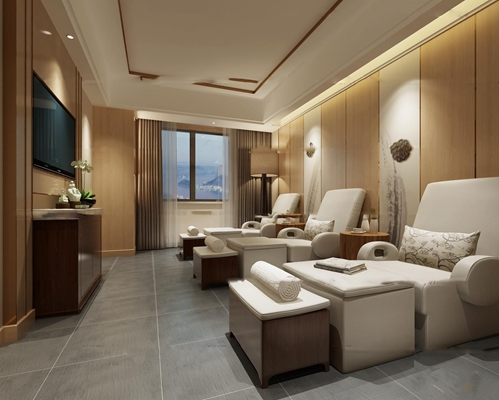 现代沐足城三人房3D模型