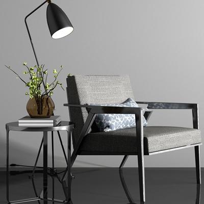 现代休闲椅落地灯边几台灯组合3D模型