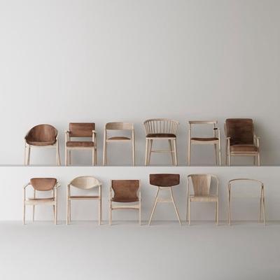 北欧简约实木单椅组合3D模型