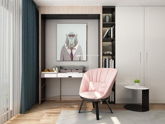 现代梳妆台置物柜挂画组合3d模型