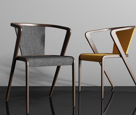 现代实木单椅组合3D模型