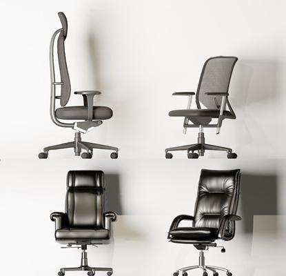 现代皮革布艺办公椅组合3D模型