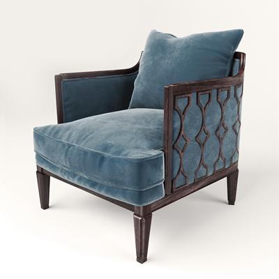 新中式布艺单椅3D模型
