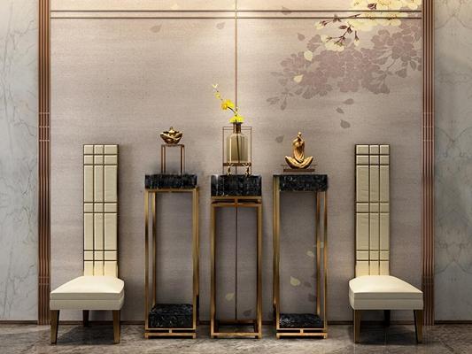 新中式边几花架摆件高背单椅组合3D模型下载