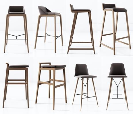 现代实木布艺吧台椅组合3D模型