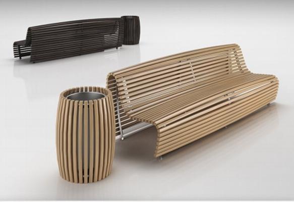 现代实木公园长椅户外椅垃圾桶组合3D模型下载