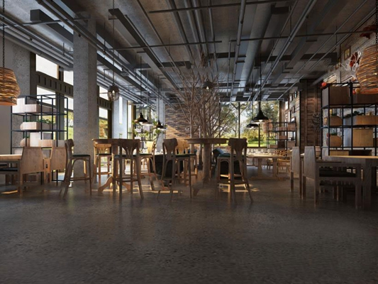 工业风餐饮空间3D模型【ID:27161295】