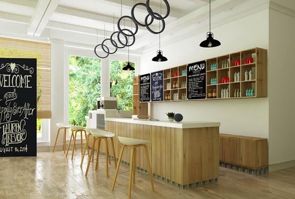 现代咖啡店吧台区3D模型