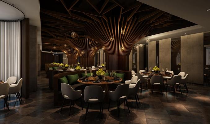 现代都市餐饮空间3D模型【ID:27161495】