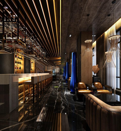 現代酒店酒吧餐廳空間3D模型下載