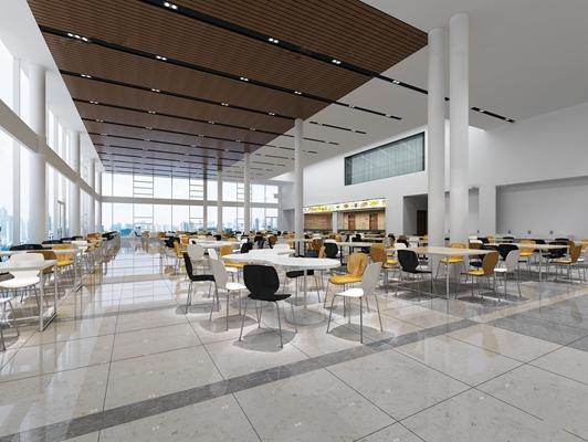 现代食堂餐饮空间3D模型下载