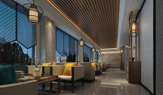 新中式餐飲空間3D模型下載