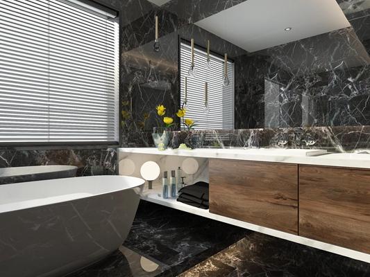 现代浴缸洗手台浴镜组合3D模型