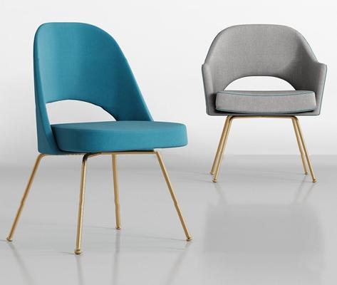 现代布艺单椅组合3D模型