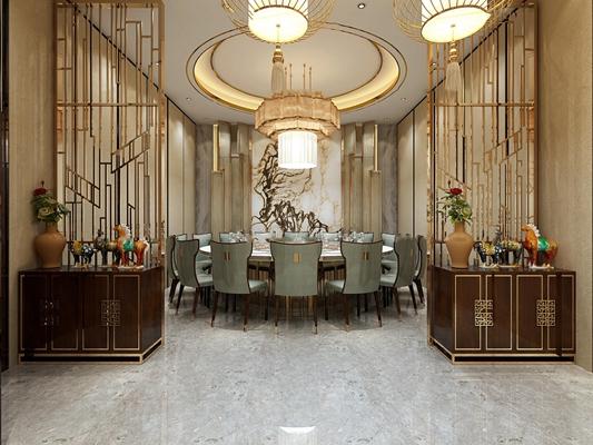 新中式酒店餐饮包间3d模型【ID:27183656】