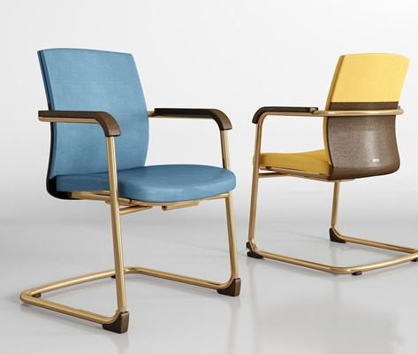 -现代金属布艺办公椅组合3D模型