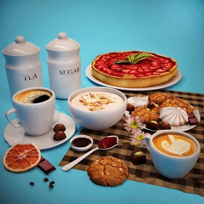 现代咖啡点心食物组合3D模型