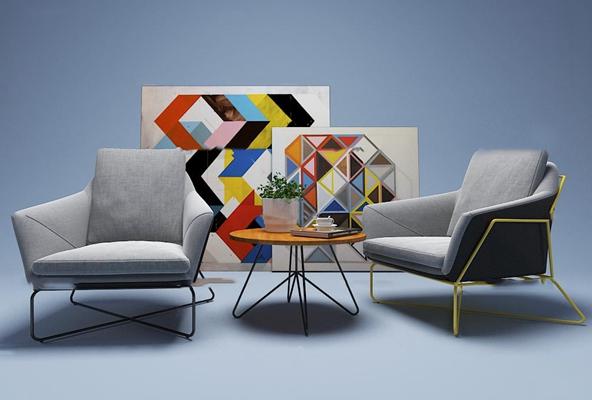 现代休闲单椅茶几组合3d模型