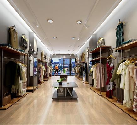 现代女士服装店3D模型