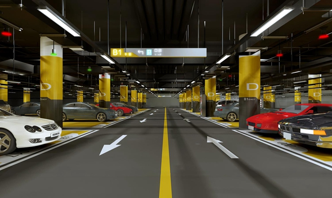 现代地下车库3D模型
