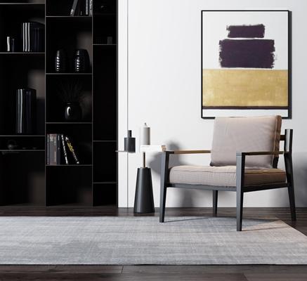 现代休闲椅边几装饰柜组合3D模型