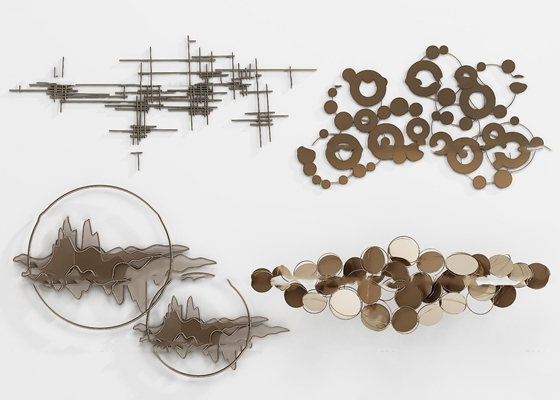 新中式金屬墻飾掛件組合3D模型