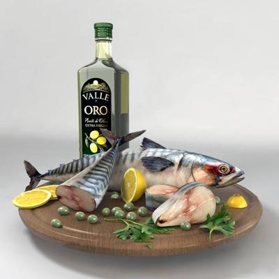 现代柠檬鱼橄榄油食物组合3D模型
