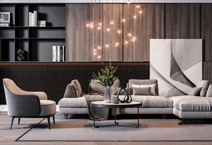 现代沙发茶几组合 现代沙发茶几组合 布艺沙发 单人沙发 圆茶几 壁柜 吊灯 转角沙发 L型沙发