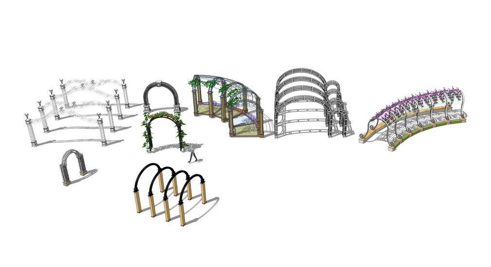 欧式铁艺花架组合SU模型