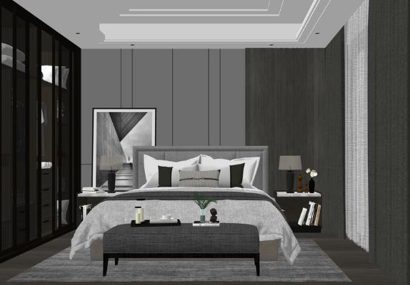 现代卧室SU模型