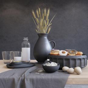 现代甜甜圈鸡蛋麦穗餐具组合3D模型