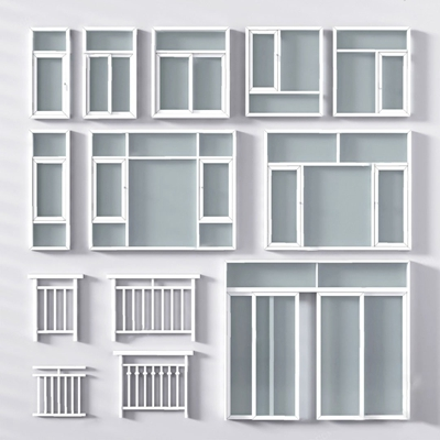 現代平开窗3D模型