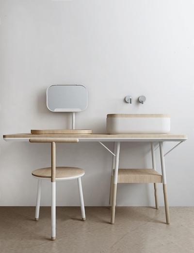 木制洗手台梳妆台 北欧梳妆台 桌子 洗手台 椅子 梳妆台 木制洗手台