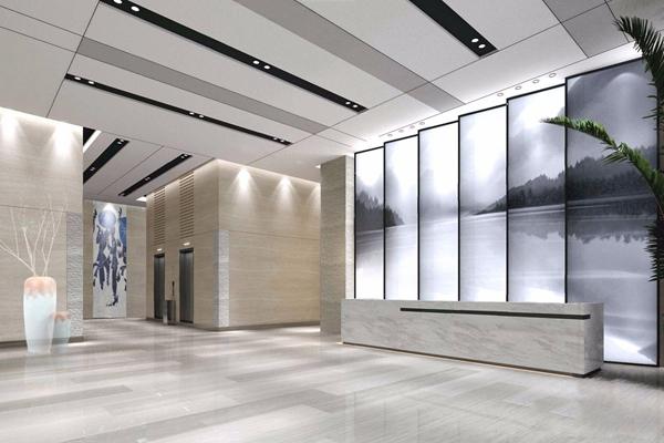 现代综合大厅 现代前台接待 前台接待 接待台 背景墙